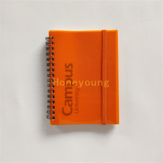 Simple Design Square Line Ruled High Quality PP Cover Spiral Notebook with Elastic Band SN-25