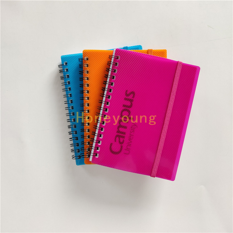 Full Color Printing Cover Custom Color High Quality Plastic Cover Double Spiral Notebook SN-26